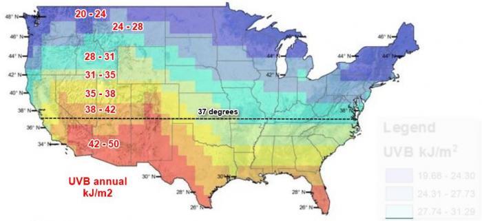 UVB Annual US Vitamin D Wiki - Vitamin d map us