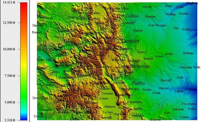 Hypothesis Colorado Has The Best UV And Thus Best Health In The - Altitude map us